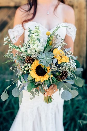 sunflower wedding bouquets bouquet with eucalyptus