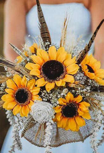 sunflower wedding bouquets bouquet with feather rb_weddingphotography