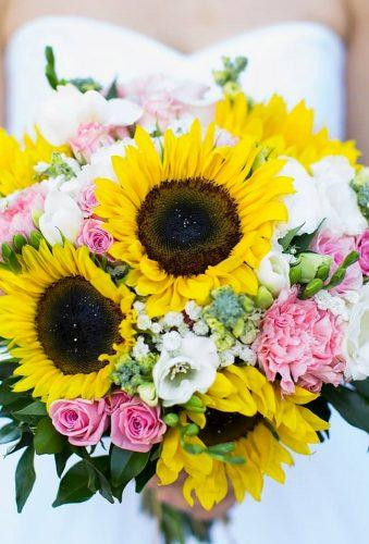 sunflower wedding bouquets bouquet with pink flower rebeccawilliams_photography