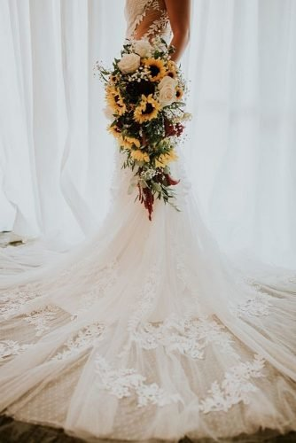 sunflower wedding bouquets cascade bouquet