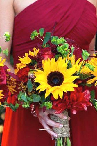 sunflower wedding bouquets 1