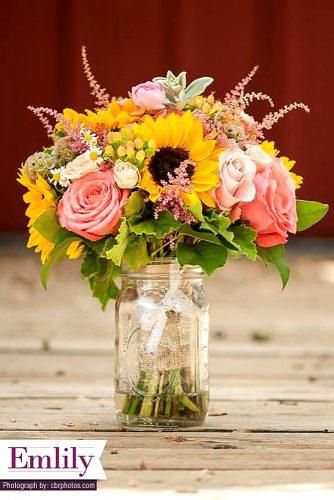 colourful sunflower wedding bouquets 1