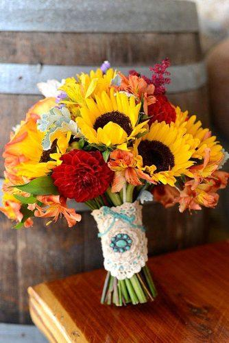 red wedding bouquets with sunflower 1