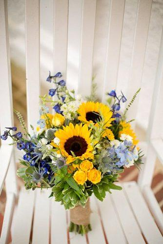 blue purple bridal bouquets with sunflower 5