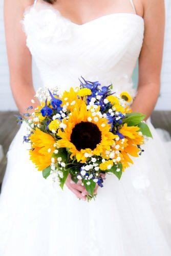 blue purple bridal bouquets with sunflower 6
