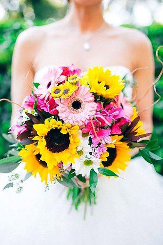 colourful sunflower wedding bouquets 3