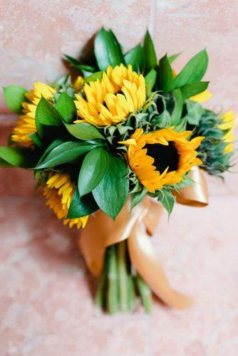 sunflower wedding bouquets sunflower gold tape Crow River Floral