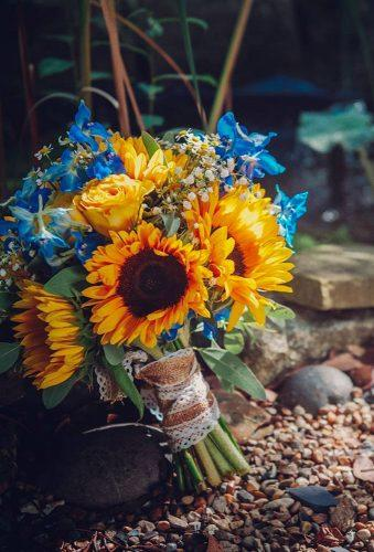 sunflower wedding bouquets sunflower with blue flowers harleys_flowers