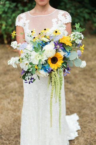 sunflower wedding bouquets with white flowers
