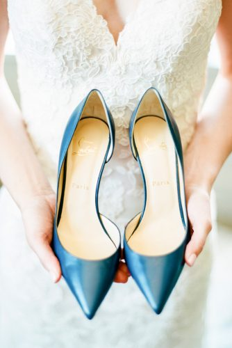 wedding flats blue christian louboutin