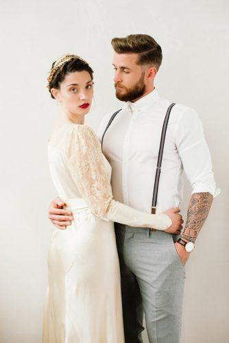 white simple shirt with suspenders grey pants vintage mens wedding attire alex tenters