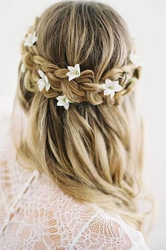 bridal hairstyles half up with braid with flowers chialimengartistry