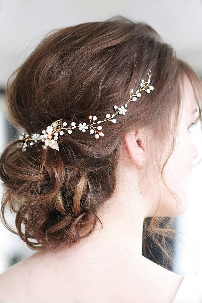 bridal hairstyles short hair updo with halo belles and brides