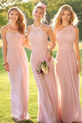 convertible bridesmaid dresses long pink chiffon wtoo