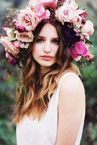 easy wedding hairstyles huge pink floral crown theveiledbeauty