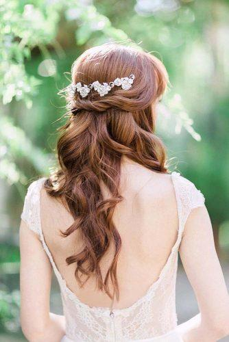 easy wedding hairstyles red hair long half up half down jenfujphotography