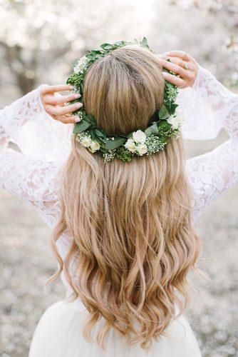 easy wedding hairstyles with green floral crown stephanie danielle