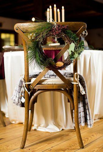 rustic winter wedding chair decor Leigh Skaggs Photography