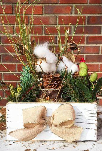 rustic winter wedding green centerpiece fortheloveofflair