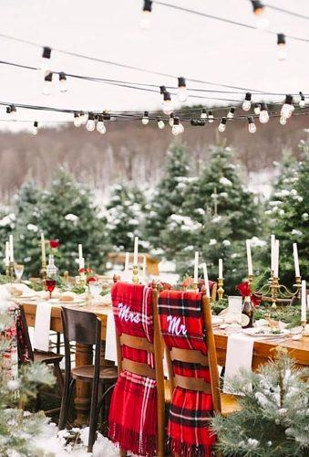 rustic winter wedding red green reception reception aysheadonaldsonweddings