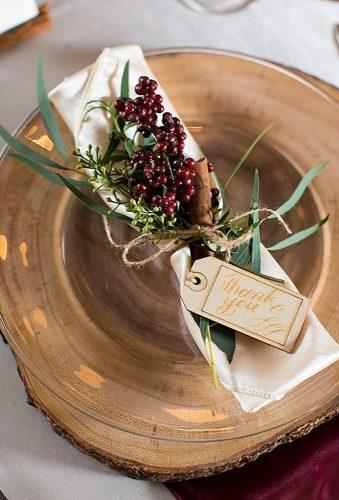 rustic winter wedding rustic napkins Leigh Skaggs Photography