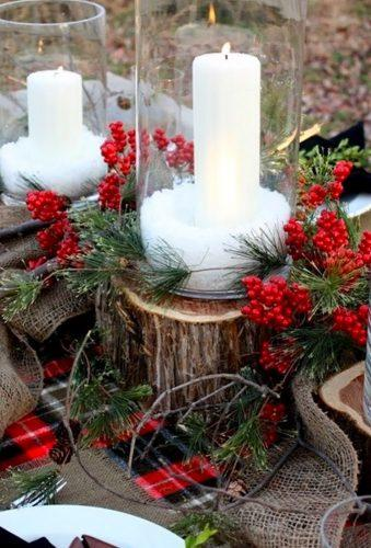 rustic winter wedding white candles decorationlove