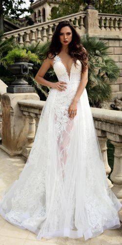 sheath with over skirt lace deep v neckline sleeveless tina valerdi wedding dresses mariana