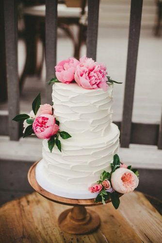 small rustic wedding cakes white creamy with pink peonies melissa biador photography