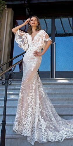 trumpet-v-neckline-lace-with-sleeves-cappuccino-tina-valerdi-wedding-dresses-paris