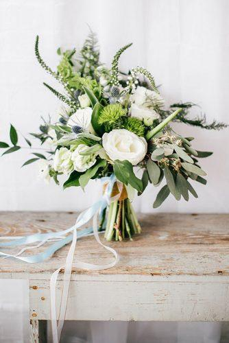 green wedding florals with ribbon 2