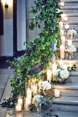 greenery wedding stairs and sings 1