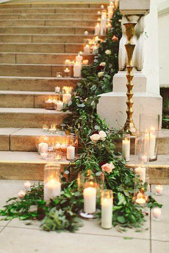 greenery wedding stairs and sings 3
