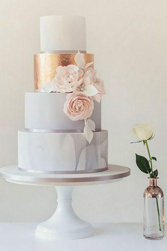 marble wedding cakes white with golden touch and pink flowers poppypickering