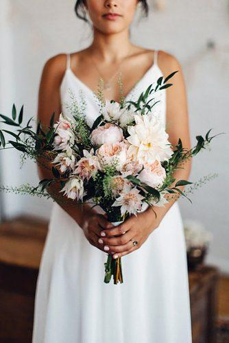 popular wedding flowers blush dahlias roses and greenery dylan howell photography