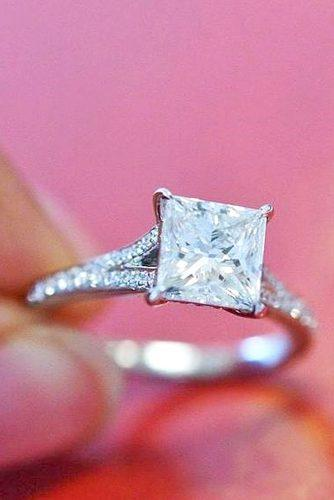 princess cut rings with pave band 1