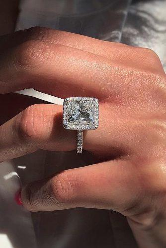 princess cut engagement rings halo diamond classic pave band