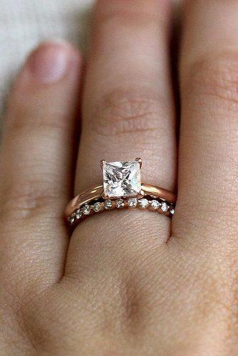 princess cut engagement rings rose gold wedding set solitaire
