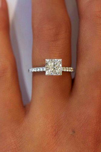 princess cut engagement rings simple white gold diamond pave band