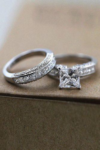 princess cut engagement rings wedding set white gold solitaire diamond