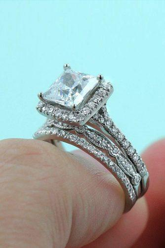princess cut engagement rings white gold unique modern pave band