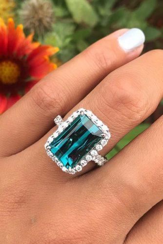 emerald cut engagement rings halo gem pave band