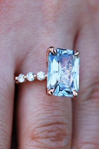 emerald cut engagement rings pave band solitaire rose gold