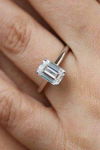 emerald cut engagement rings solitaire rose gold simple