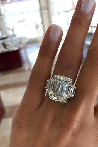 emerald cut engagement rings three stone diamond white gold bahdos
