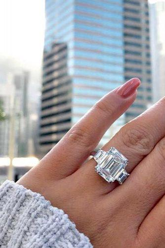 emerald cut engagement rings white gold three stone emerald shaped ring diamondregistry