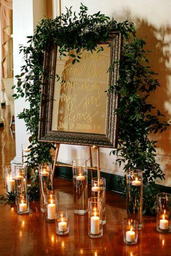 mirror wedding idea mirror wedding sign with greenery and candles