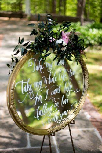 mirror wedding idea round mirror wedding signs with flower decor