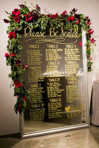 mirror wedding idea wedding signs with flower decor