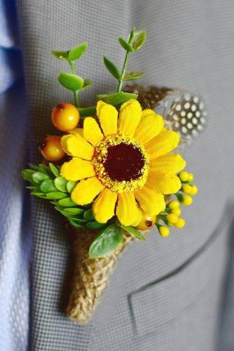 sunflower wedding boutonniere flower on grey groom suit simplyprettywedding