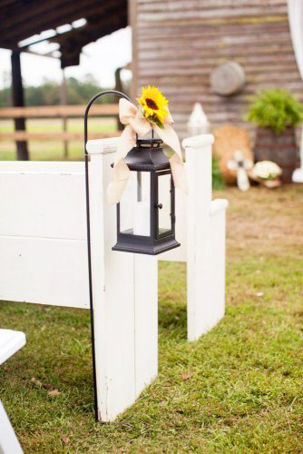 sunflower wedding decor ideas aisle with lamp marymephotography